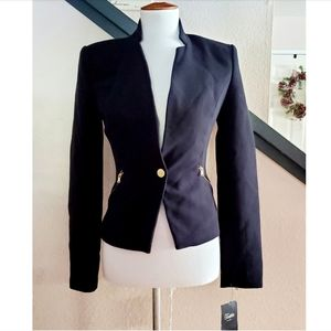 🎉NWT Zara Black Single Button Gold Zipper Blazer